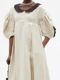 KIKA VARGAS Peter Pan-collar linen dress   voluminous puff sleeve dresses