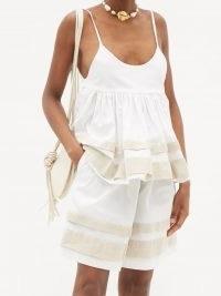 KIKA VARGAS Ramone linen-panel peplum cotton-blend top | white spaghetti strap summer tops