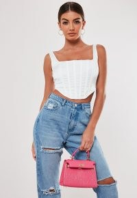 MISSGUIDED white satin corset top
