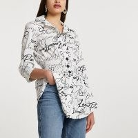 RIVER ISLAND White scribble shirred waist shirt / slogan print fitted shirts