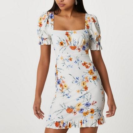 RIVER ISLAND White short sleeve tie back floral mini dress / square neck, puff sleeve frill trim dresses - flipped