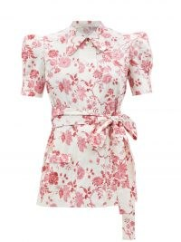 THE VAMPIRE'S WIFE The Persuasion floral-print belted cotton blouse   puff sleeve tie waist blouses