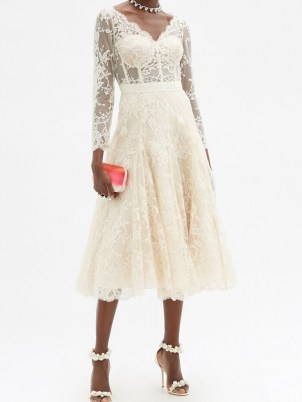 ALEXANDER MCQUEEN V-neck sarabande-lace midi dress ~ luxury cream fit and flare occasion dresses ~ wedding ~ bridal - flipped