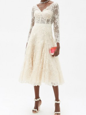 ALEXANDER MCQUEEN V-neck sarabande-lace midi dress ~ luxury cream fit and flare occasion dresses ~ wedding ~ bridal