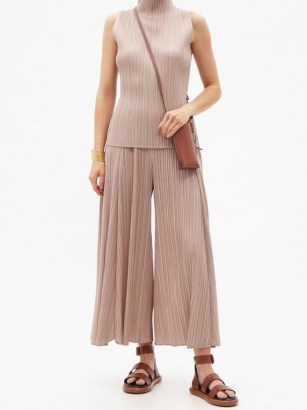 PLEATS PLEASE ISSEY MIYAKE Wide-leg technical-pleated trousers / floaty beige summer pants / effortless style clothing - flipped