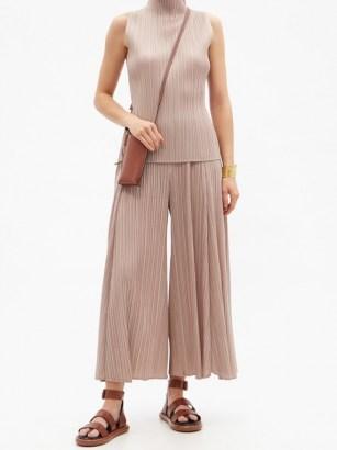 PLEATS PLEASE ISSEY MIYAKE Wide-leg technical-pleated trousers / floaty beige summer pants / effortless style clothing