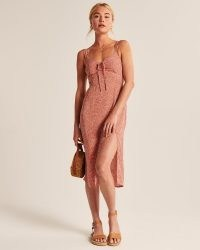 Abercrombie & Fitch Cinch-Front Midi Dress | adjustable wide straps and front side slit detail