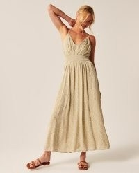 Abercrombie & Fitch Double-Strap Babydoll Maxi Dress | adjustable double straps, cross-back detail, smocked waist and v-neckline