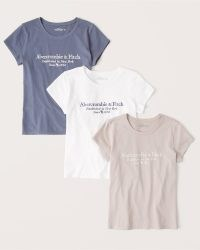 Abercrombie & Fitch 3-Pack Short-Sleeve Logo Tee | embroidered logo