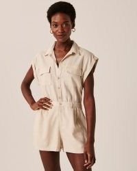 Abercrombie & Fitch Utility Romper | On-trend utility romper in a soft linen-blend fabric with button-down detail