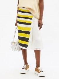 MARNI Brushstroke yellow and black stripe-print frayed-canvas wrap skirt ~ asymmetric front summer skirts