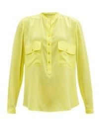 STELLA MCCARTNEY Estelle yellow dotted-jacquard blouse – bright utility blouses