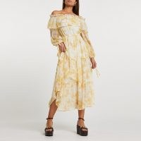 River Island Yellow floral print bardot maxi dress   floaty summer dresses   70s style off the shoulder dresses