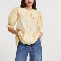 River Island Yellow frill tiered hem collared shirt – oversized collar shirts with puff sleeves