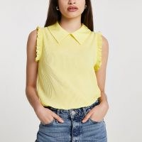 River Island Yellow ribbed collared blouse top – ruffle trim tops