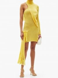 THEBE MAGUGU yellow roll-neck one-shoulder wool-blend mini dress