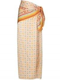 Y/Project high-rise wraparound skirt / multi print silk skirts