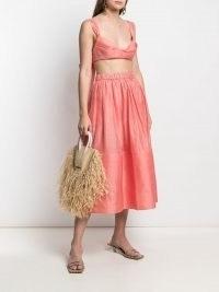 Zimmermann Botanica midi skirt in guava pink