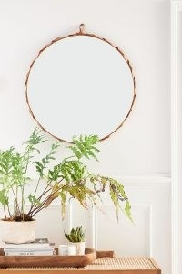 ANTHROPOLOGIE Nayla Leather Mirror ~ chic round mirrors