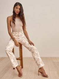 REFORMATION Abalone High Rise Straight Jeans ~ floral denim