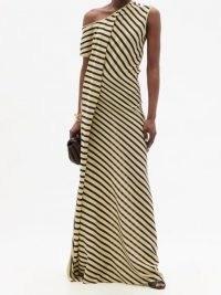 PETAR PETROV Acacia one-shoulder striped silk-crepe dress ~ beige and black stripe asymmetric maxi dresses