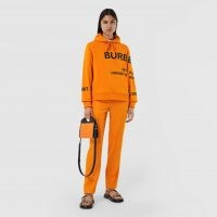 BURBERRY Horseferry Print Cotton Oversized Hoodie / orange slogan hoodies / logo print hooded tops