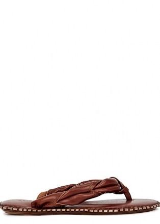 ACNE STUDIOS Bema chesnut leather flip flops - flipped