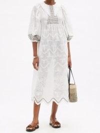 VITA KIN Addicted to Love white embroidered linen midi dress   balloon sleeve summer dresses
