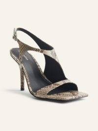 REFORMATION Adut Cutout High Heel Sandal / square toe cut out sandals / snake embossed heels
