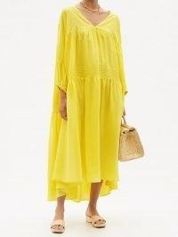 ANAAK Airi tiered silk-habotai maxi dress in yellow ~ bright loose fit summer dresses