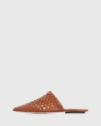 PAIGE Alana Flats in Ochre Leather | woven flat mules