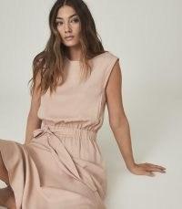 REISS ALESSANDRA CASUAL MIDI DRESS WITH SELF-TIE BELT BLUSH ~ side split hem day dresses