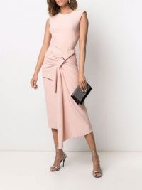 Alexander McQueen buckle-detail drape-front dress in rose pink – chic asymmetric ruched detail dresses