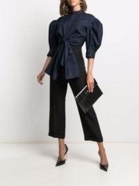 Alexander McQueen knot-detail band-collar blouse ~ navy blue balloon sleeve open back blouses