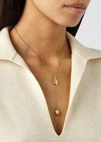 ALIGHIERI The Lunar Rocks 24kt gold-plated necklace | longline double pendant necklaces