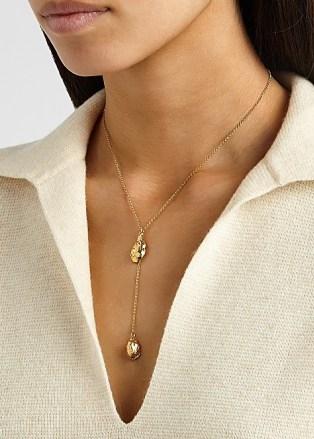 ALIGHIERI The Lunar Rocks 24kt gold-plated necklace   longline double pendant necklaces - flipped