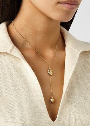 ALIGHIERI The Lunar Rocks 24kt gold-plated necklace   longline double pendant necklaces