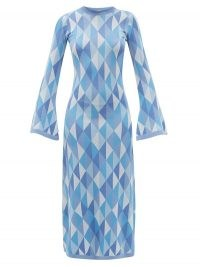 DODO BAR OR Ally open-back geometric-jacquard knitted dress | chic blue retro knits