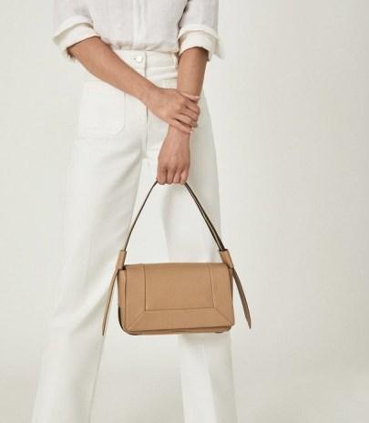 REISS ALMA LEATHER SHOULDER BAG TAN – light brown flap bags - flipped