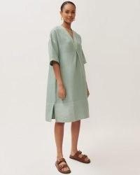 JIGSAW AMBA LINEN MIX KAFTAN DRESS / green summer dresses