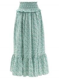 LORETTA CAPONI Amira shirred floral-print cotton skirt / classic summer tiered hem skirts