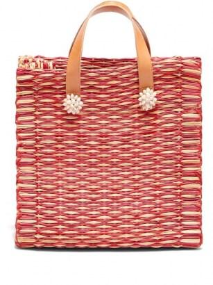 HEIMAT ATLANTICA Amor large tote basket bag / red woven shell embellished summer bags - flipped