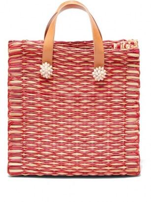 HEIMAT ATLANTICA Amor large tote basket bag / red woven shell embellished summer bags