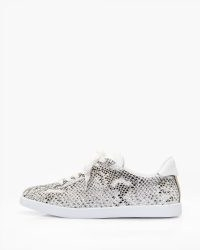 PAIGE Amy in Black Gold Snake | sports luxe leather sneakers