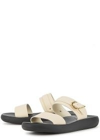 ANCIENT GREEK SANDALS Preveza Comfort off-white leather sliders / double strap buckle detail slides