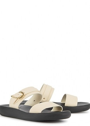 ANCIENT GREEK SANDALS Preveza Comfort off-white leather sliders / double strap buckle detail slides - flipped