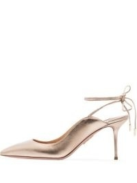 Aquazzura metallic Sexy Thing 75mm pumps / shiny stiletto heel ankle tie courts