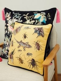 HOUSE OF HACKNEY Armageddon medium cotton-jacquard cushion in yellow ~ insect and reptile print cushions