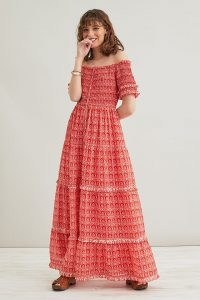 ANTHROPOLOGIE Daisy Checked Maxi Dress – red frill trim off the shoulder dresses