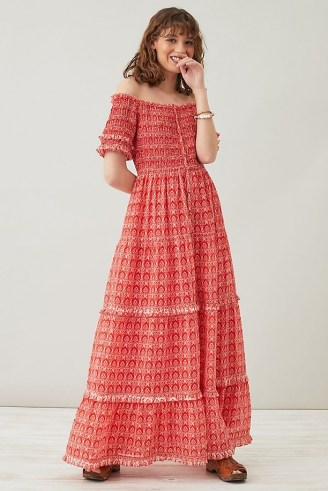 ANTHROPOLOGIE Daisy Checked Maxi Dress – red frill trim off the shoulder dresses - flipped